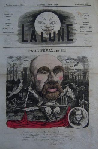 Caricature de Paul Féval par André Gill, publiée dans La Lune (déc.1866), collection personnelle